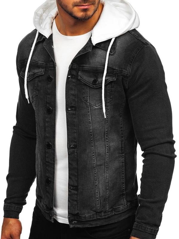 Kurtka jeansowa męska z kapturem czarna Denley 605