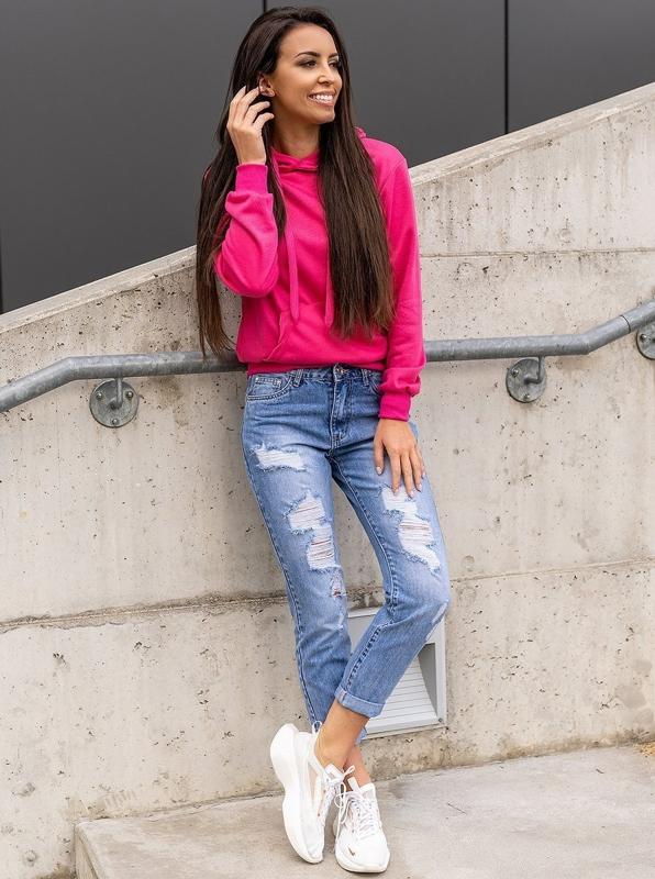 Niebieskie spodnie jeansowe damskie Boyfriend Denley DM9601