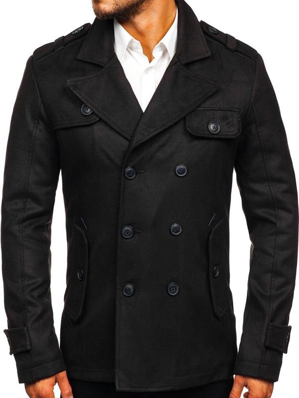 Płaszcz męski zimowy czarny Denley 3123