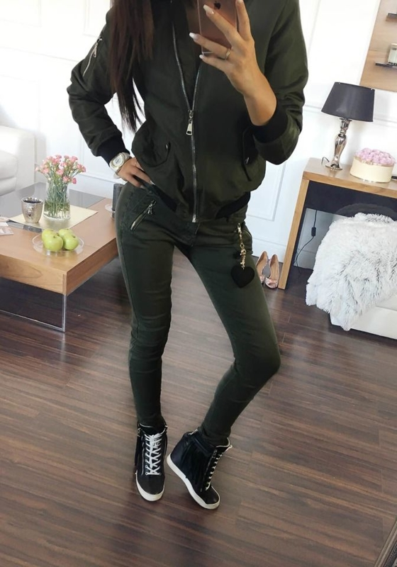 Spodnie jeansowe damskie khaki Denley 692