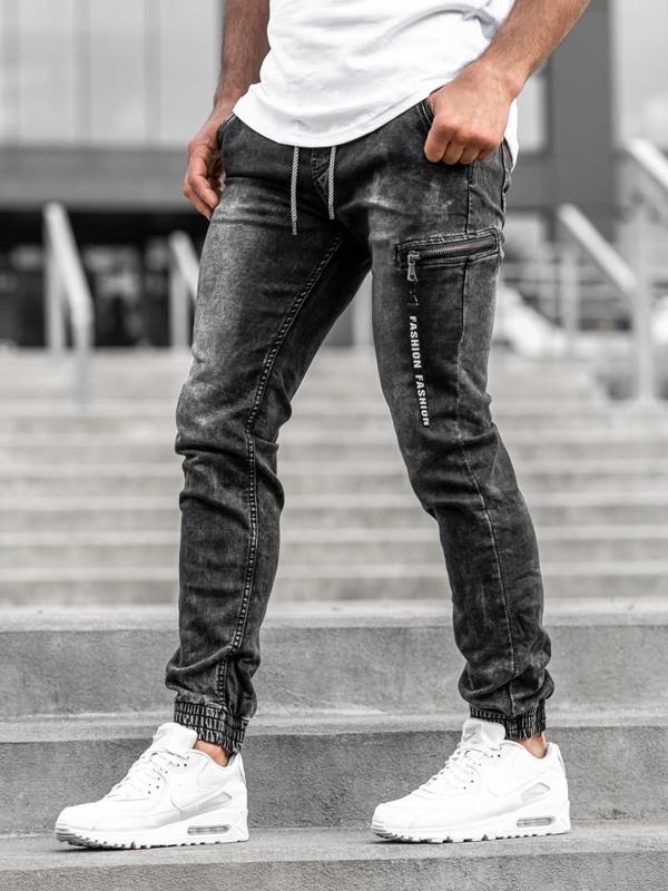 Spodnie jeansowe joggery męskie czarne Denley  KA689-3