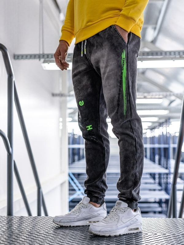 Spodnie jeansowe joggery męskie czarne Denley KK1067