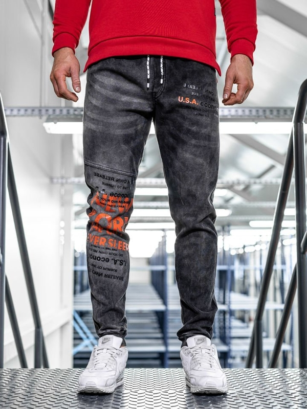 Spodnie jeansowe joggery męskie czarne Denley KK1069