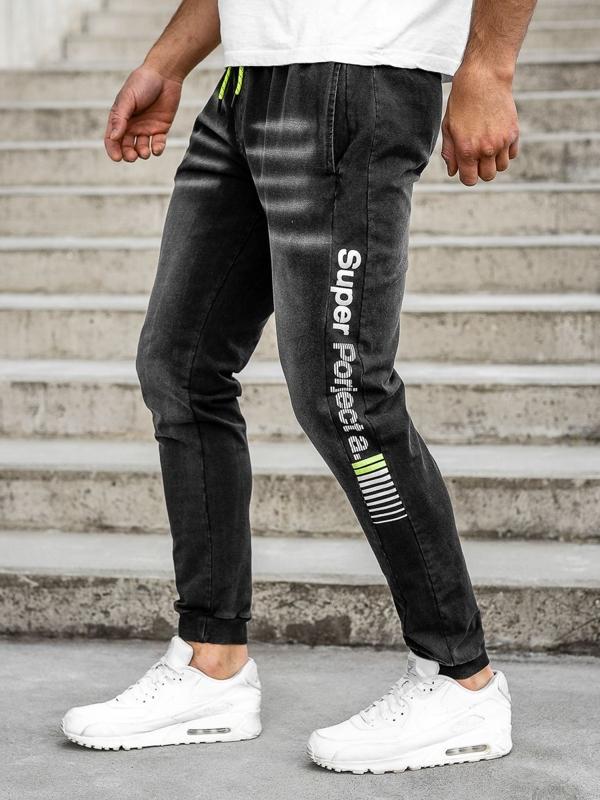 Spodnie jeansowe joggery męskie czarne Denley KK1100