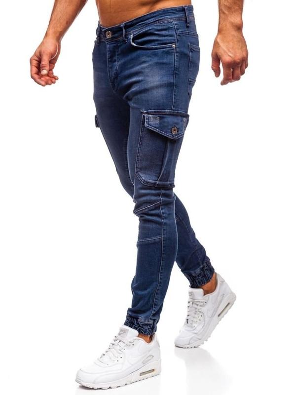 Spodnie jeansowe joggery męskie granatowe Denley 1053