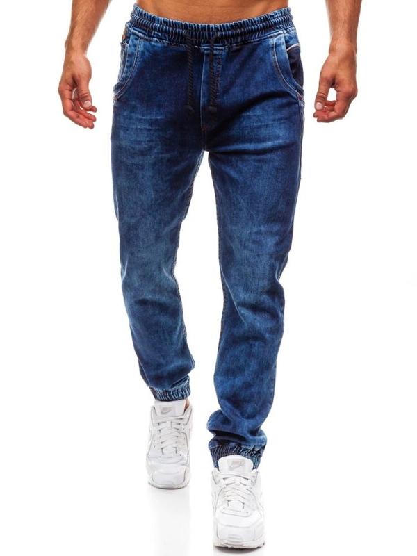 Spodnie jeansowe joggery męskie granatowe Denley 714