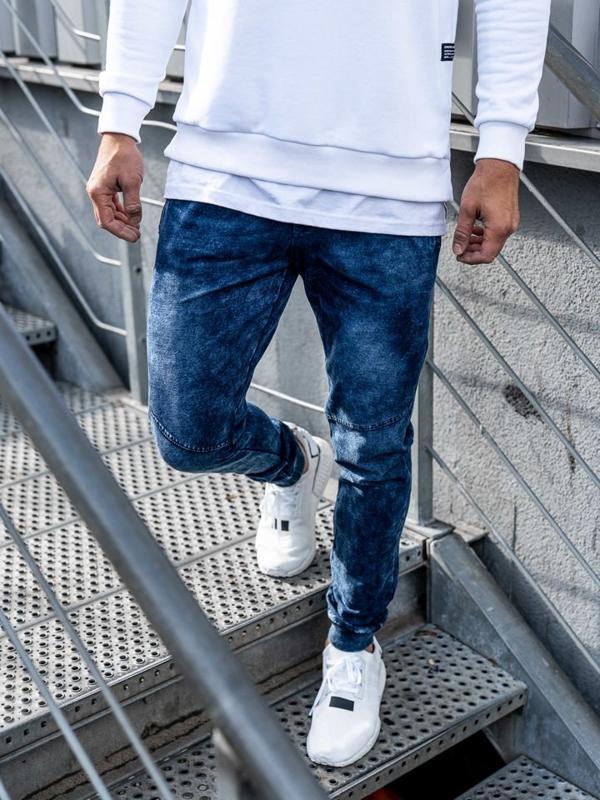 Spodnie jeansowe joggery męskie granatowe Denley KK1027