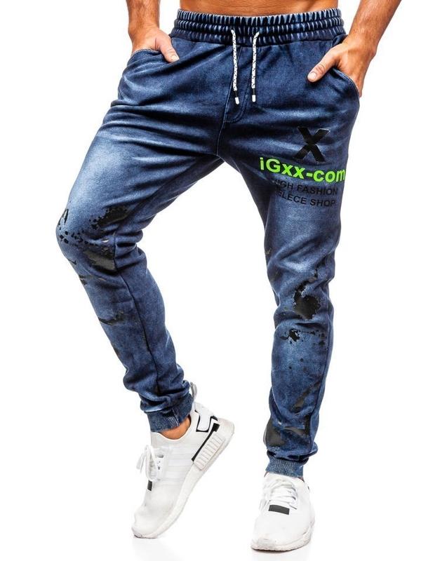 Spodnie jeansowe joggery męskie granatowe Denley KK1061
