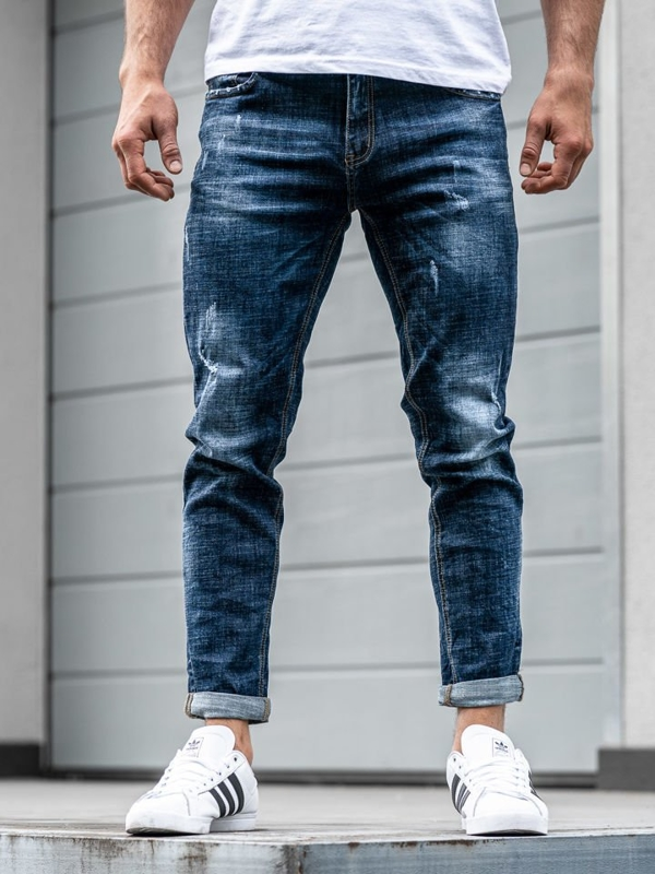 Spodnie jeansowe joggery męskie granatowe Denley  KX271