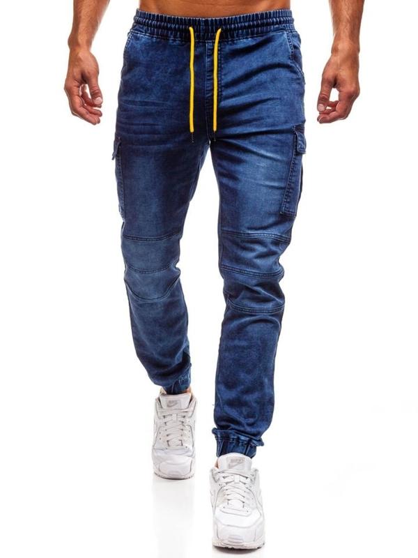 Spodnie jeansowe joggery męskie granatowe Denley Y263