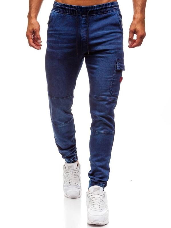Spodnie jeansowe joggery męskie granatowe Denley Y271