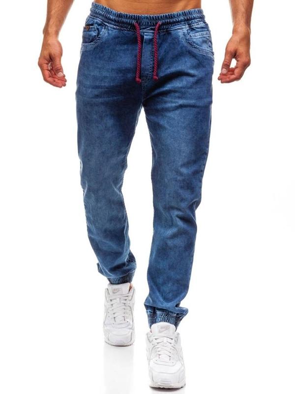 Spodnie jeansowe joggery męskie niebieskie Denley 723