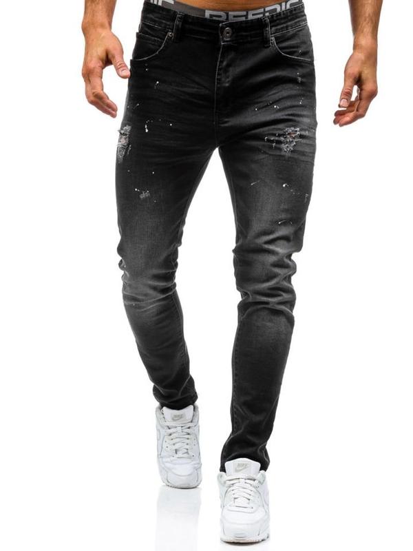 Spodnie jeansowe męskie czarne Denley 0163