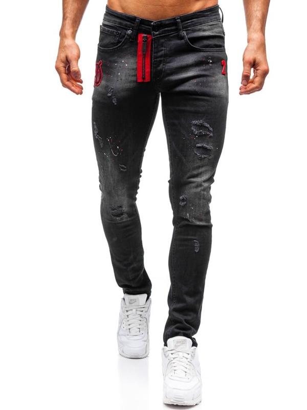 Spodnie jeansowe męskie czarne Denley 9239