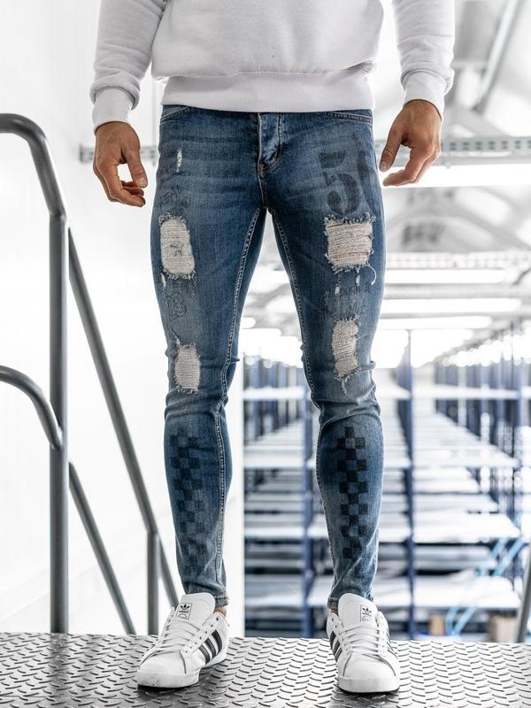 Spodnie jeansowe męskie granatowe Denley 1062