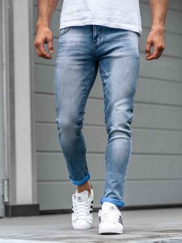 Spodnie jeansowe męskie granatowe Denley KX160
