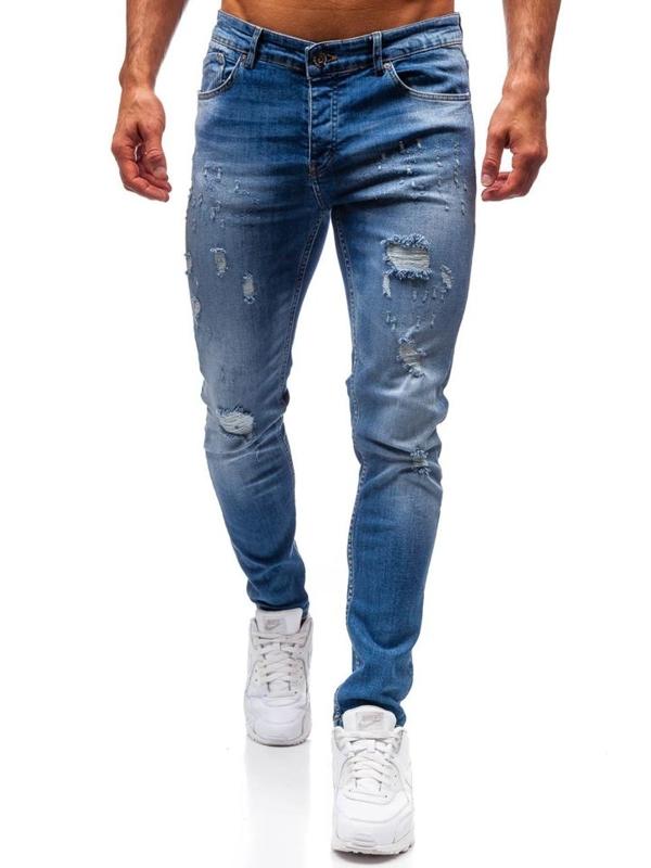 Spodnie jeansowe męskie niebieskie Denley 1008