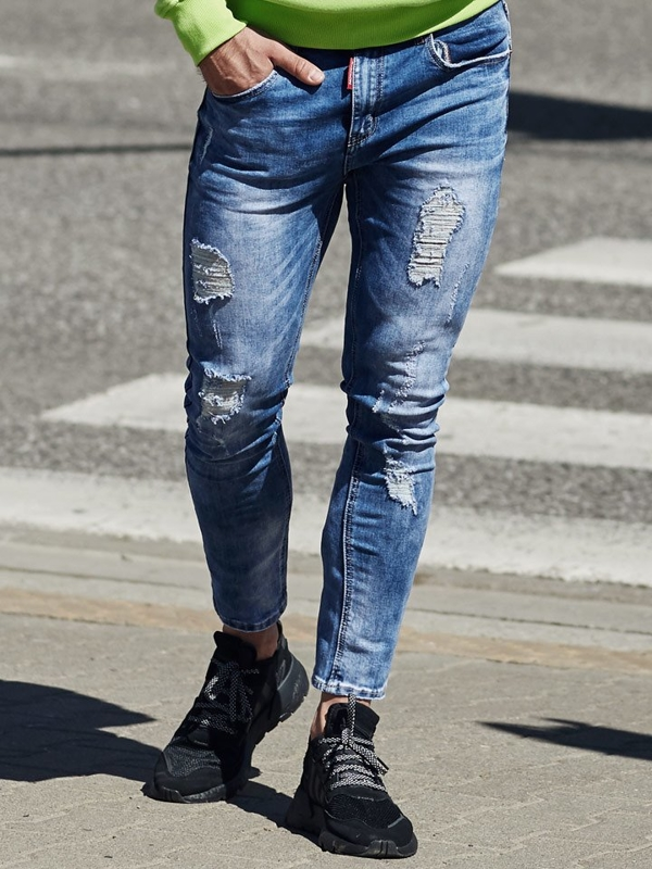 Spodnie jeansowe męskie niebieskie Denley 3947