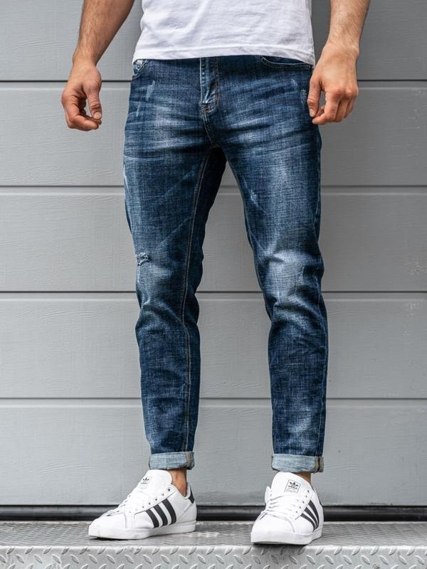 Spodnie jeansowe męskie relaxed fit granatowe Denley KX263