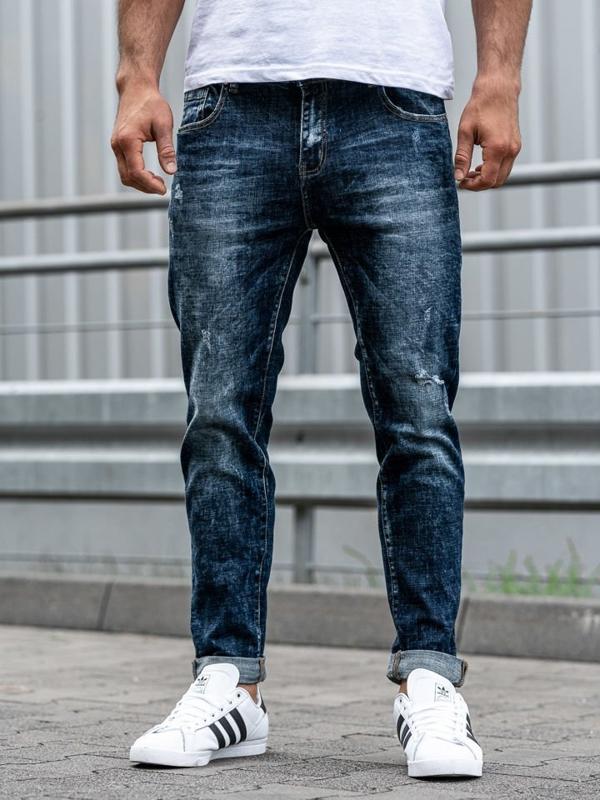 Spodnie jeansowe męskie relaxed fit granatowe Denley KX269
