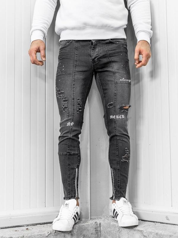Spodnie jeansowe męskie skinny fit czarne Denley 1085