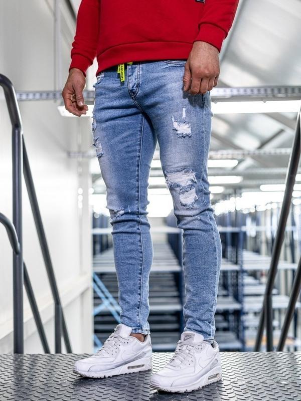 Spodnie jeansowe męskie skinny fit granatowe Denley KA1726