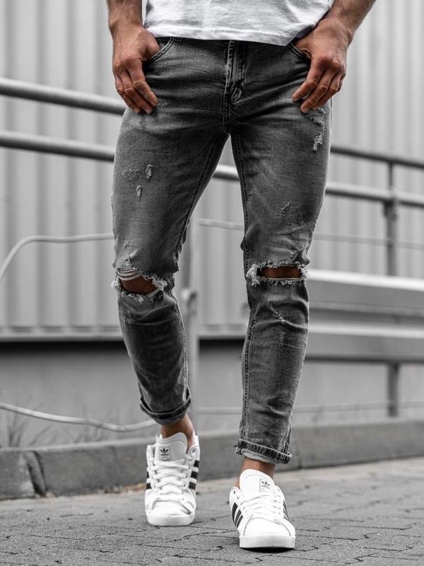 Spodnie jeansowe męskie slim fit czarne Denley KA891