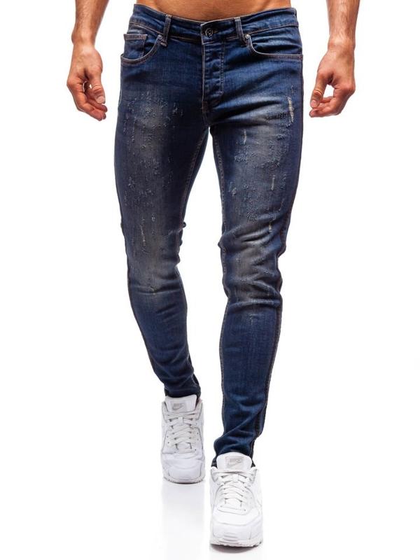 Spodnie jeansowe męskie slim fit granatowe Denley 1014