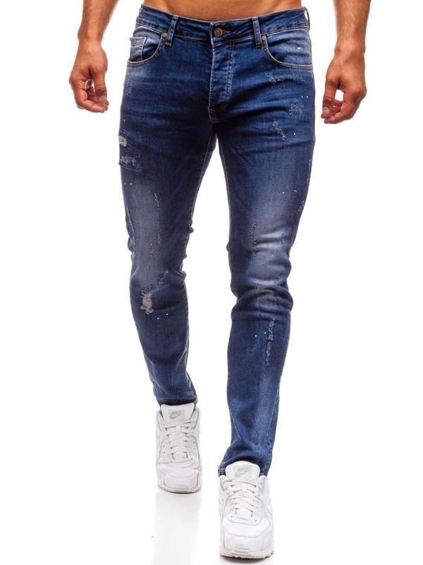Spodnie jeansowe męskie slim fit granatowe Denley 8023