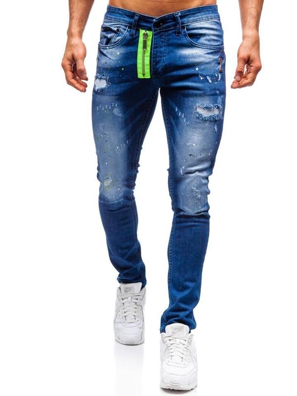 Spodnie jeansowe męskie slim fit granatowe Denley 9236