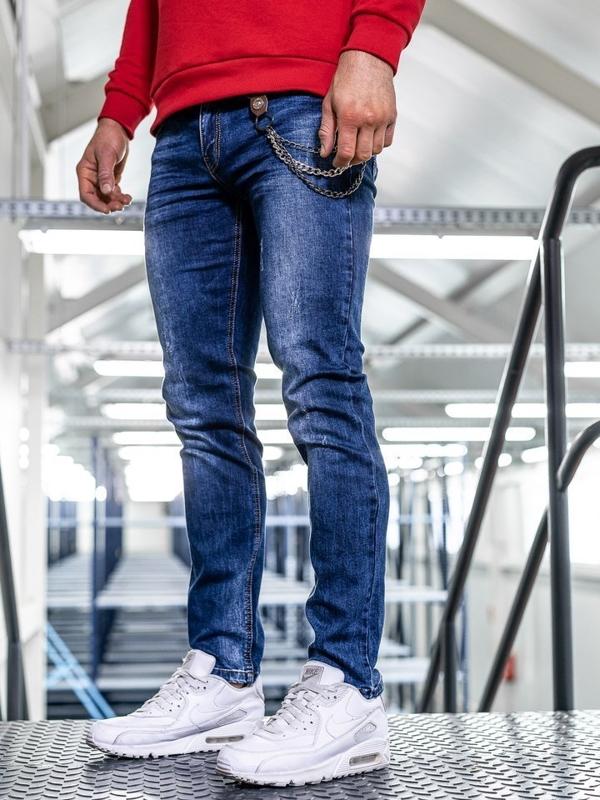 Spodnie jeansowe męskie straight leg granatowe Denley KA1260