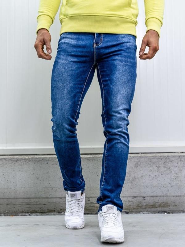 Spodnie jeansowe z paskiem męskie straight leg granatowe Denley KA1767