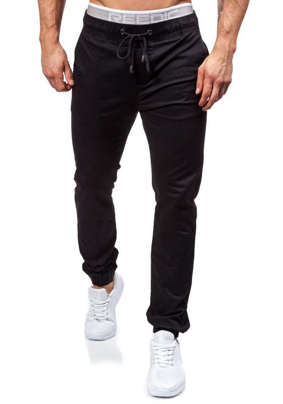 Spodnie joggery męskie czarne Denley 8765