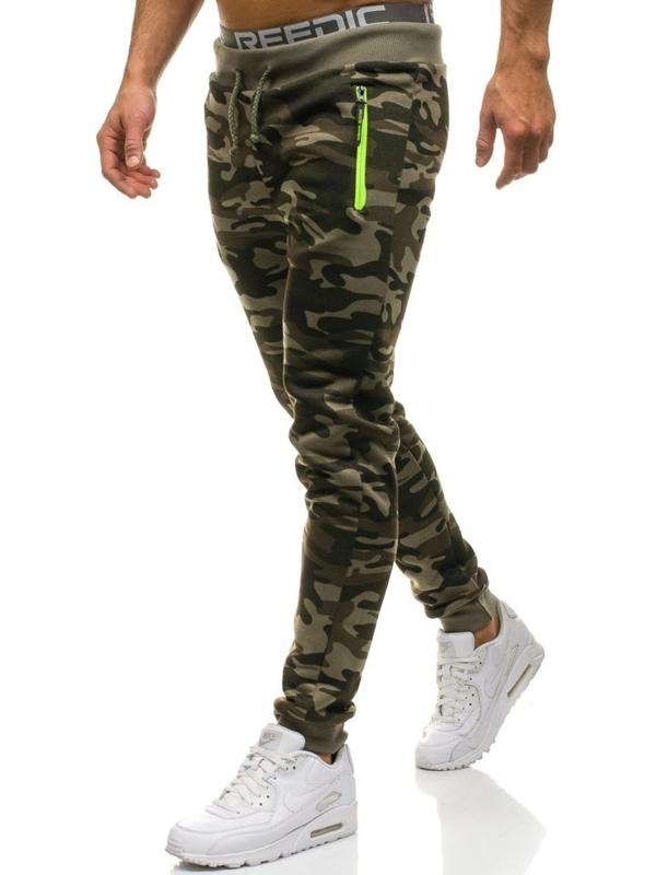 Spodnie męskie dresowe joggery moro-zielone Denley JX8125