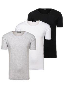 T-shirt męski bez nadruku multikolor 3 Pack Denley 798081-3p