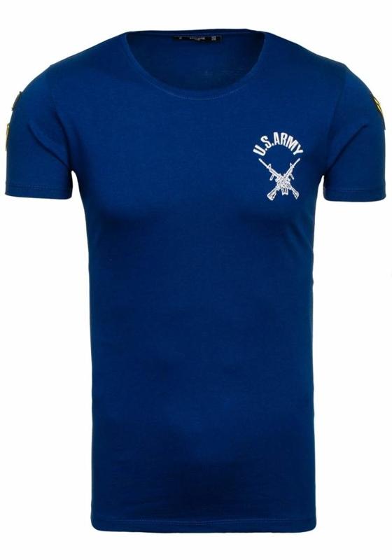 T-shirt męski z nadrukiem granatowy Denley 9021