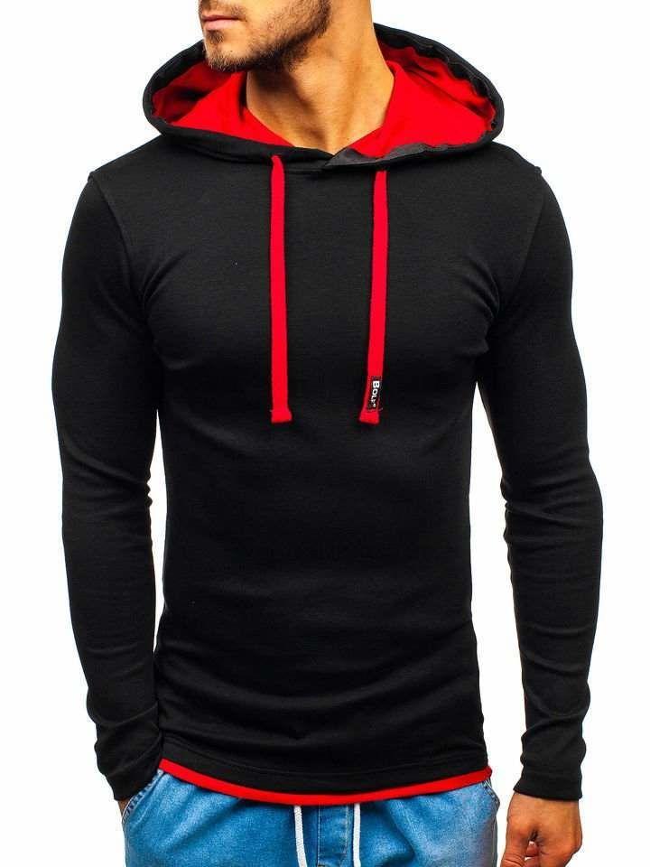 bluza męska z kapturem czarno czerwona