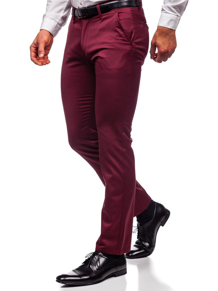Bordowe Chinosy Spodnie Meskie Denley Ka1786p