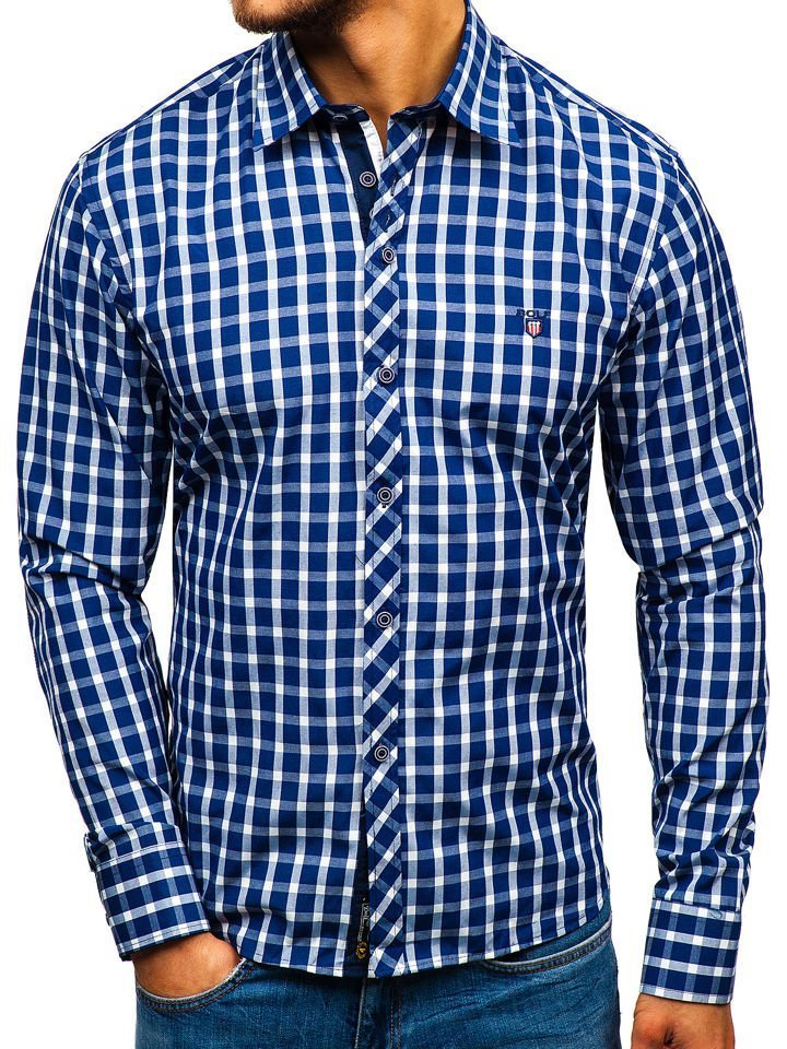 Koszula męska elegancka w kratę z długim rękawem granatowa  Y1IEo