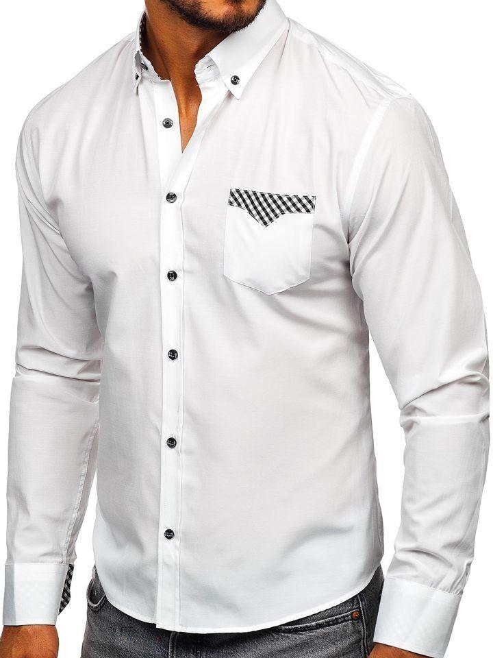 Koszula męska elegancka z długim rękawem biała Bolf 4711  0R0hz