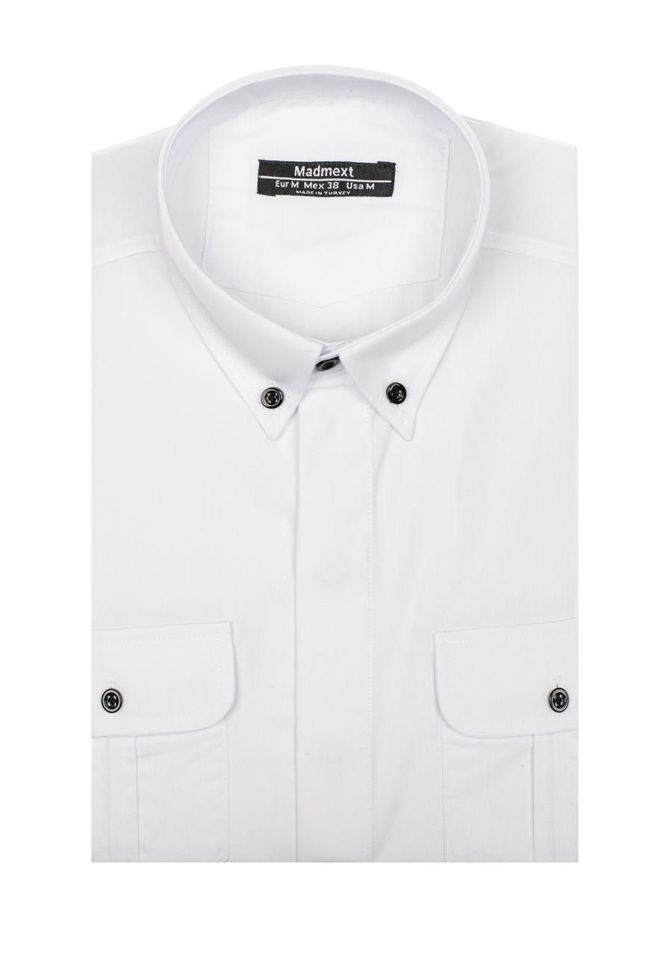 Koszula męska elegancka z długim rękawem biała Denley 0780  WPOhf