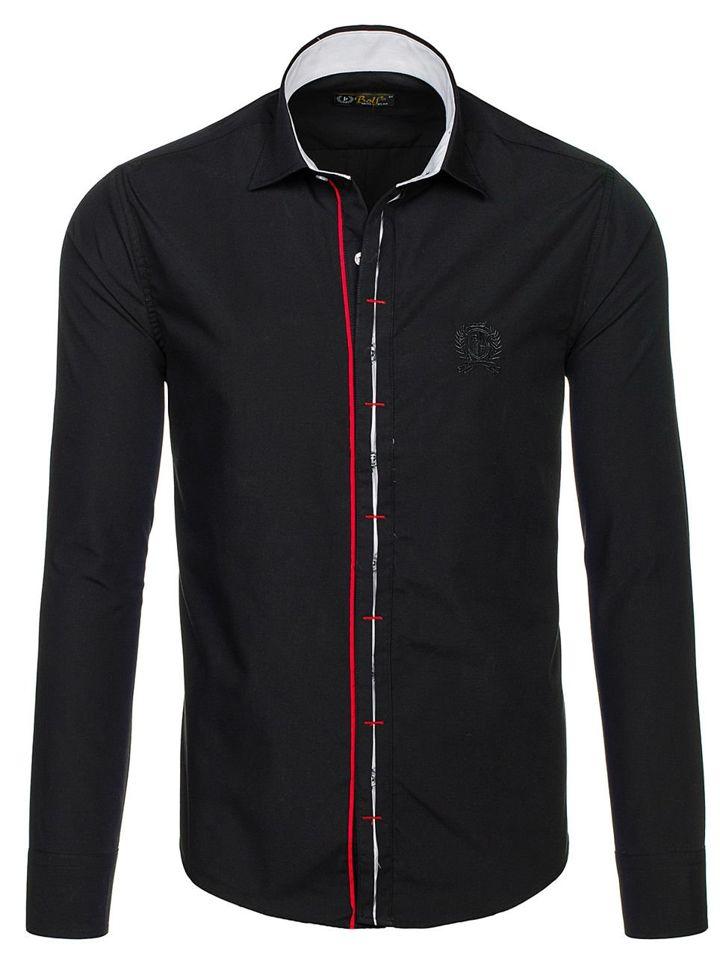 Koszula męska elegancka z długim rękawem czarna Bolf 1769 A  6C6M3