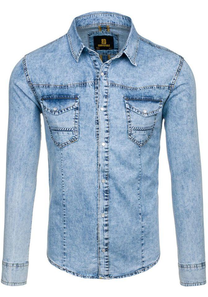 40171a66d Koszula męska jeansowa z długim rękawem błękitna Denley 4416