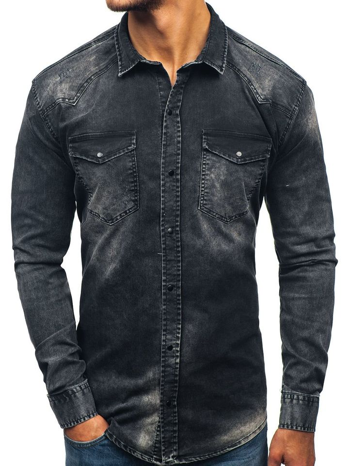 aece12ff9 Koszula męska jeansowa z długim rękawem czarna Denley 2063