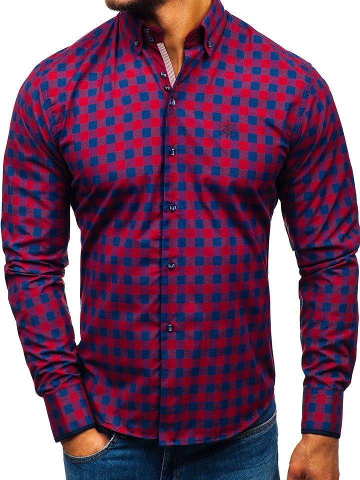 Koszula męska w kratę z długim rękawem bordowa Bolf 5816 A  wxEEl