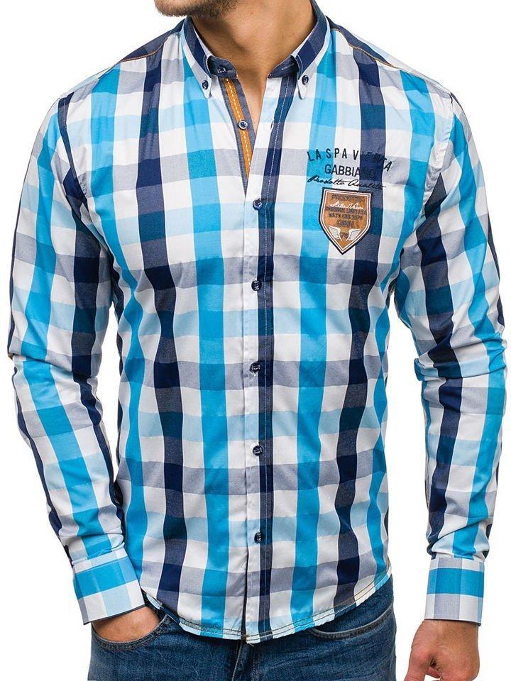 Koszula męska w kratę z długim rękawem turkusowa Bolf 1766  8hTy3