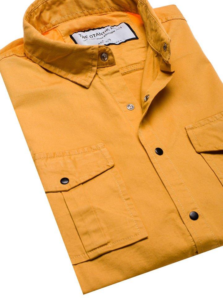 Koszula męska z długim rękawem musztardowa Denley 2058 1  8So0I
