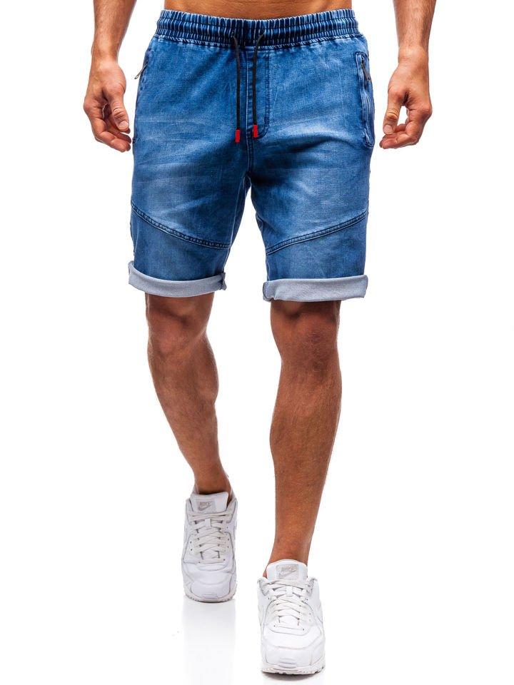 ead2f41f58ec4 Krótkie spodenki jeansowe męskie granatowe Denley HY186