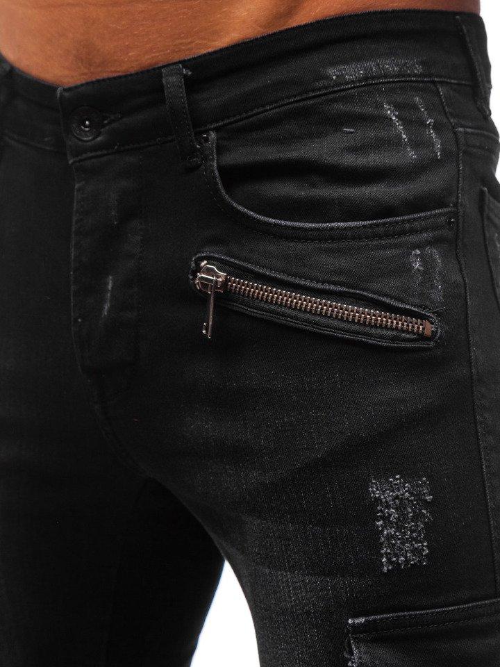 Spodnie jeansowe joggery męskie czarne Denley 3002