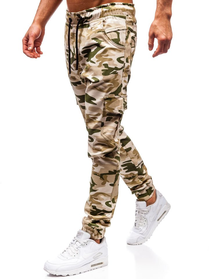 Spodnie joggery bojówki męskie moro beżowe Bolf 0404